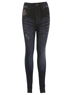 Distressed Denim Look Skinny Jeggings