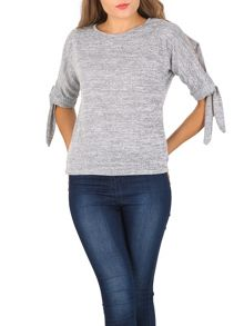 Izabel London Slit Sleeve Marl Top