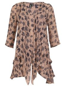 Izabel London Loose Flow Leaf Print Tunic Top
