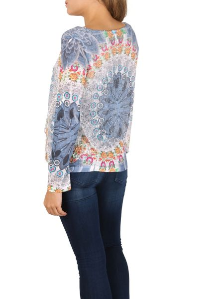 Izabel London Net Trapeze Top With Knit Sleeves
