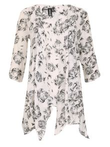 Izabel London Loose Flow Rose Print Tunc Dress