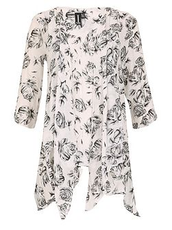 Loose Flow Rose Print Tunc Dress