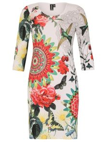 Izabel London Abstract Botanical Print Bodycon Dress