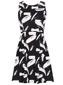 Brush Stroke Print Fit And Flare Dress