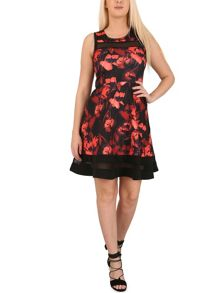 Izabel London Fit `n` Flare Floral Vintage Dress