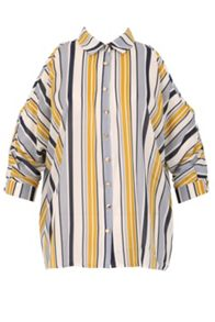 Izabel London Striped Shoulder Reveal Box Shirt