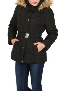 Izabel London Padded Coat With Faux Fur Hood