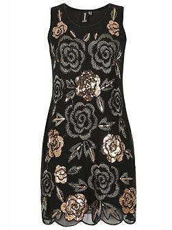 Floral Embroided Shift Dress