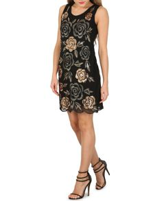 Izabel London Floral Embroided Shift Dress