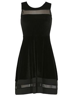 Sheer Trim Fit `N` Flare Dress