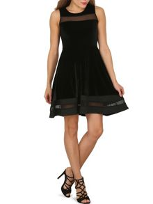 Izabel London Sheer Trim Fit `N` Flare Dress
