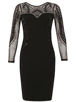 Sheer Panel Beaded Bodycon Dress