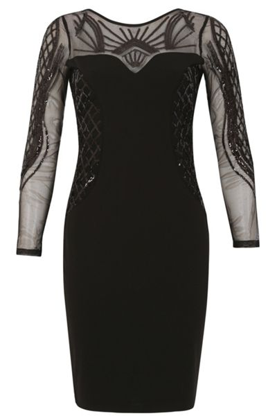 Izabel London Sheer Panel Beaded Bodycon Dress