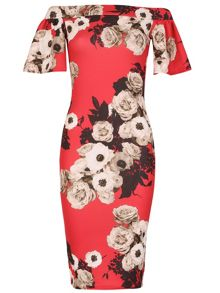 Izabel London Floral Bardot Bodycon Dress