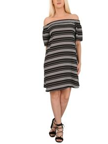 Izabel London Off The Shoulder Striped Dress