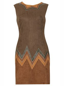 Zig-Zag Suedette Shift Dress