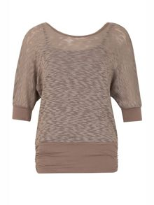 Izabel London Textured Short Sleeve Blouson Top
