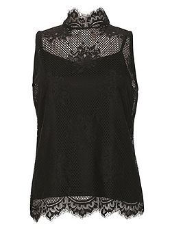 Sleeveless Netted Victoriana Top