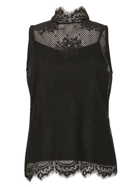Izabel London Sleeveless Netted Victoriana Top