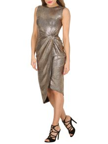 Izabel London Bodycon Metallic Knot Detail Dress