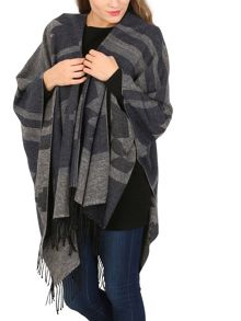 Izabel London Aztec Print Fringed Shawl