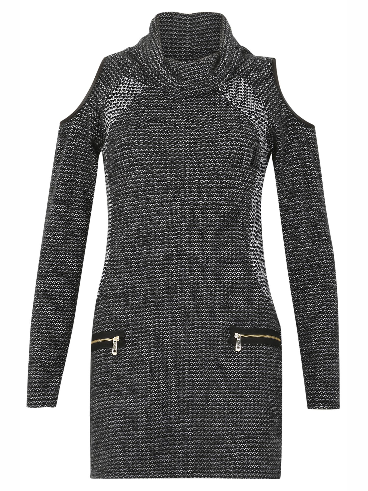 Izabel London RollNeck Waffle Dress Grey