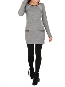 Izabel London Sweatshirt Style Waffle Dress