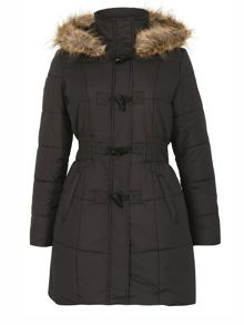Izabel London Padded Coat With Fur Trim Hood