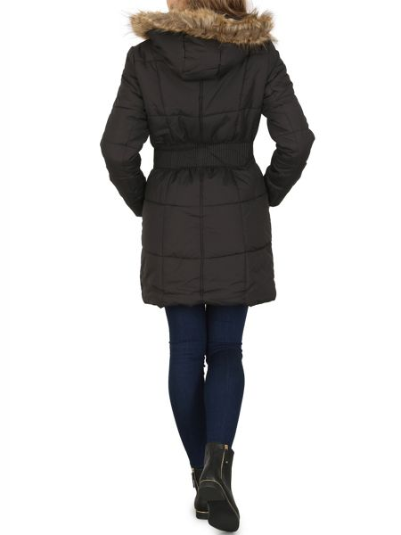 Izabel London Padded Coat With Faux Fur Trim Hood