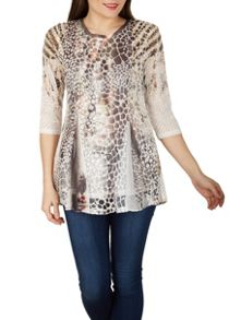 Izabel London Snake Effect Print Top