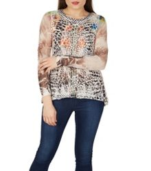 Izabel London Shimmer Snake Print Top