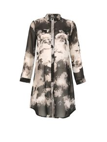 Izabel London Abstract Print Shirt Dress