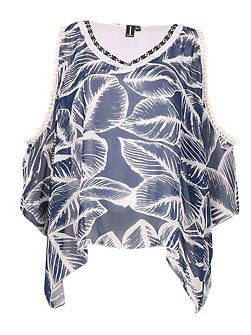 Tropical Print Trim Top
