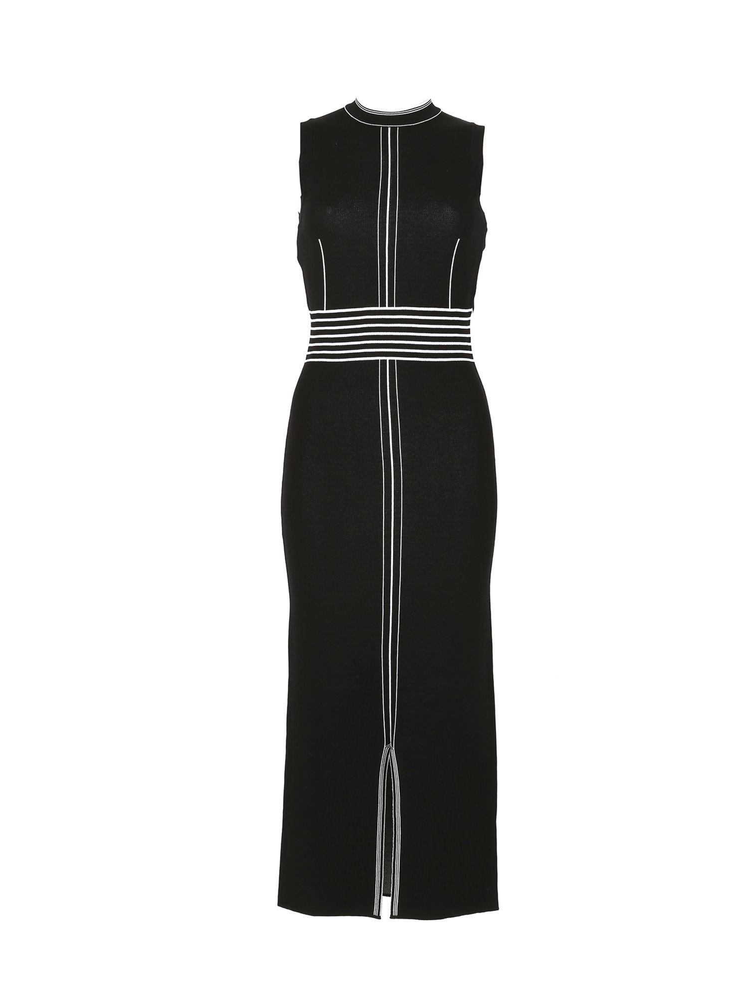 Izabel London Linear Trim Midi Bodycon Dress, Black