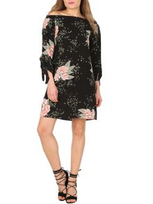 Izabel London Floral Print Bardot Dress