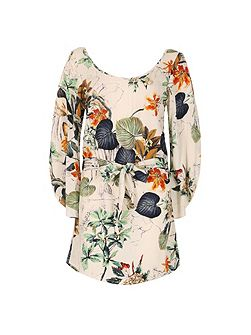 Nature Print Waist Tie Top