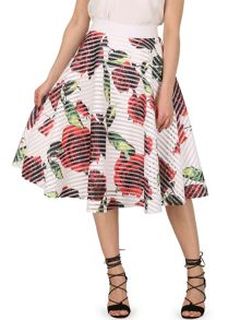 Izabel London Floral Print Rock `N` Roll Skirt