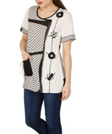 Izabel London Abstract Print Stylist Top