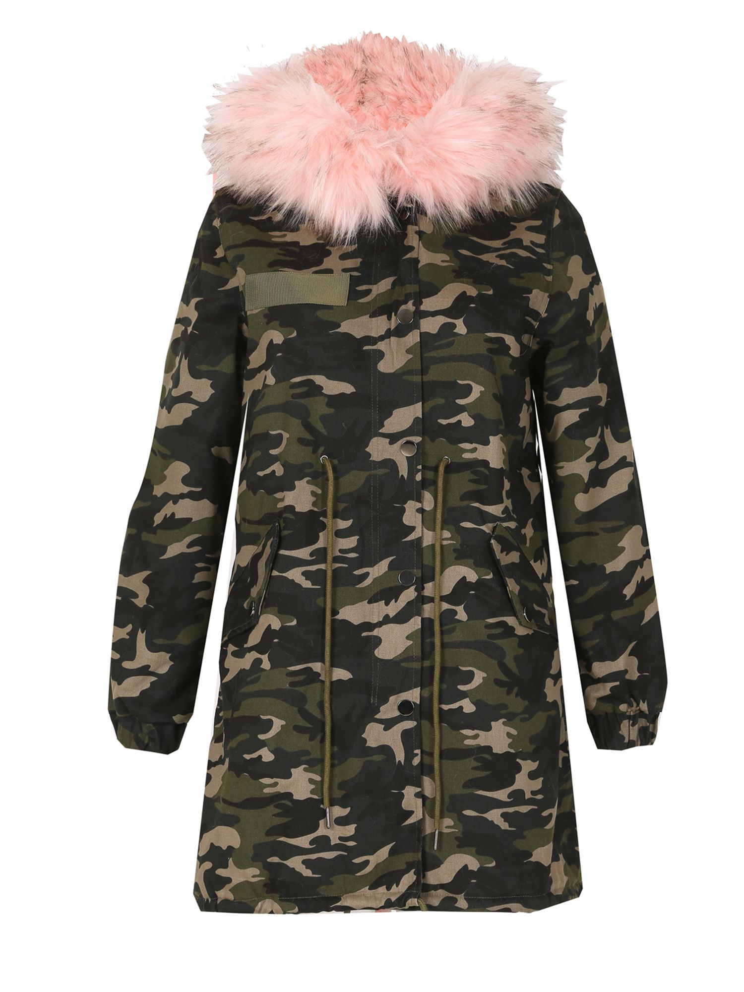 Izabel London Camouflage Fur Trim Parka, Pink