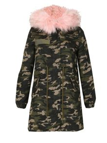 Izabel London Camouflage Fur Trim Parka