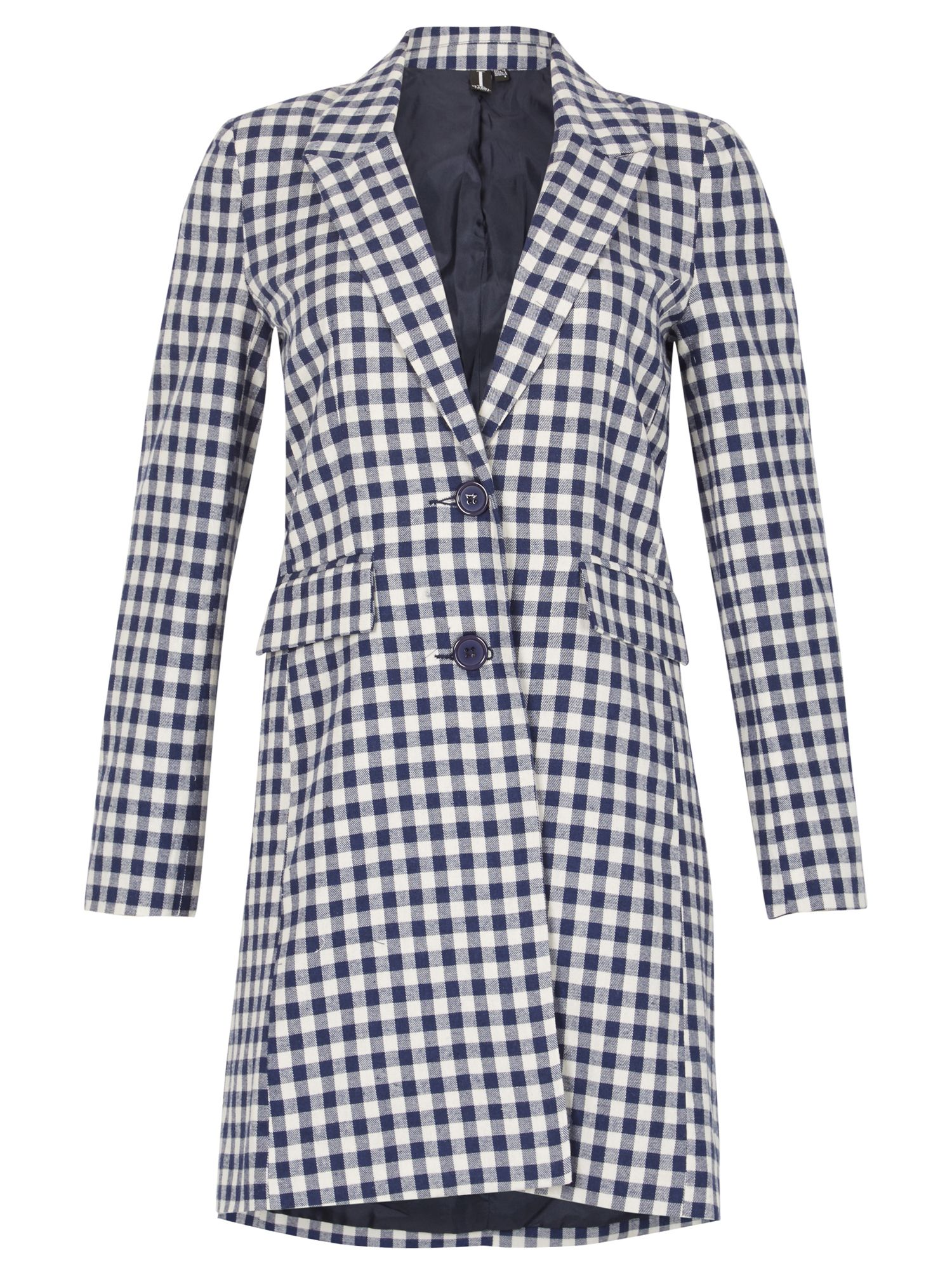 Izabel London Gingham Check Cotton Coat, Blue