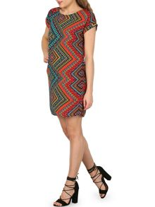 Izabel London Ikat Inspired Print Tunic Dress