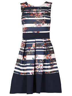 Nautical Floral Dress with Statement Bow