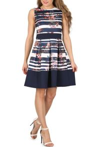 Izabel London Nautical Floral Dress with Statement Bow