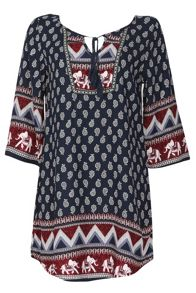 Izabel London Kaftan Style Dress With Woodblock Print