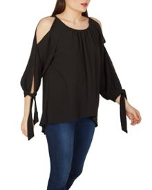 Izabel London Cold-Shoulder Tunic Top