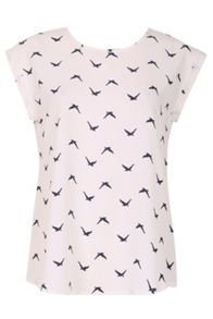 Izabel London Migratory Birds Crepe T-Shirt