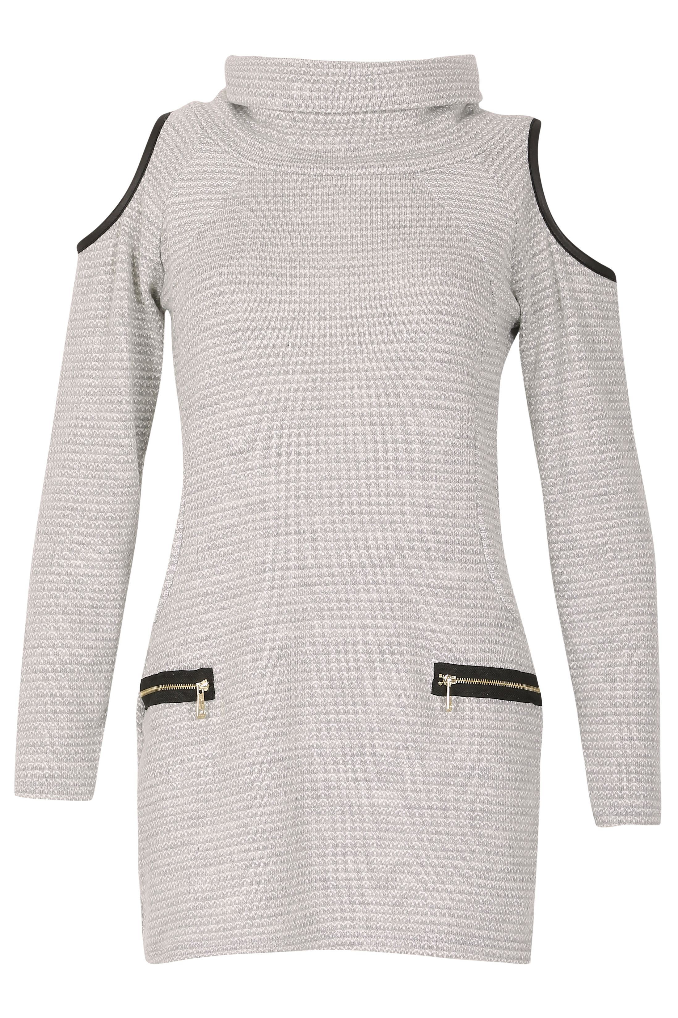Izabel London RollNeck Waffle Dress Light Grey