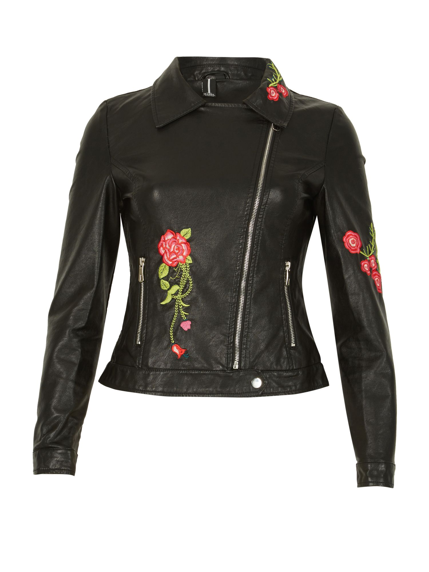 Izabel London Floral Embroidered Leather Look Jacket, Black