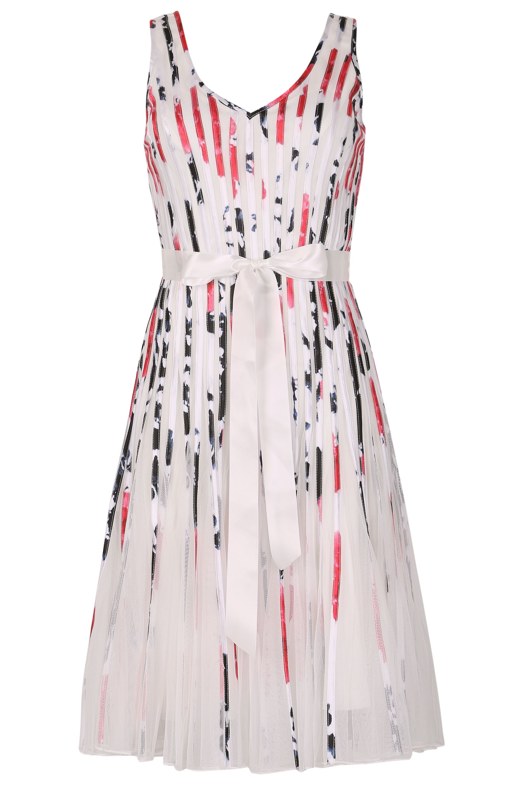 Izabel London Ribbon Stripe Dress With Mesh Skirt, Multi-Coloured